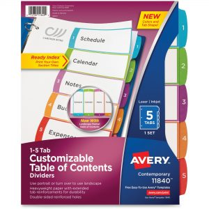 Avery 5-Tab Table of Content Dividers